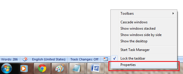 how to get taskbar back in word