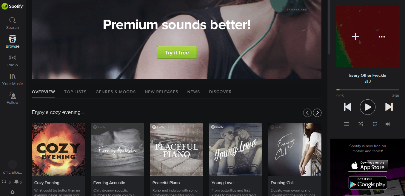 how to get to spotify web player