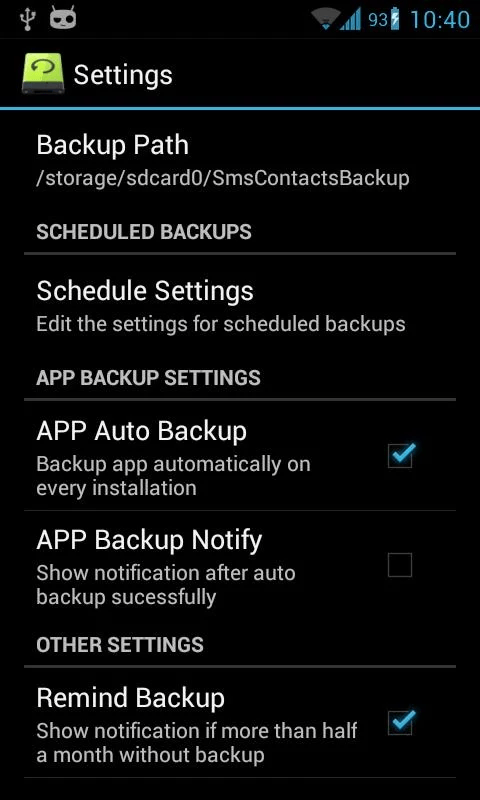 back up contacts and call logs in Android