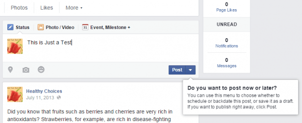 backdate post in Facebook