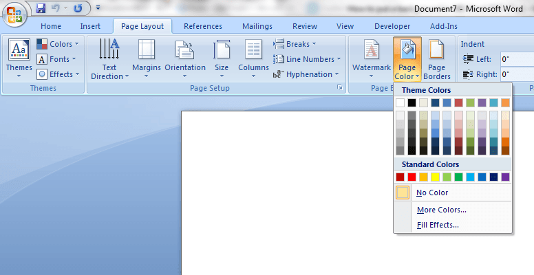 Change Backround In MS Word 2007