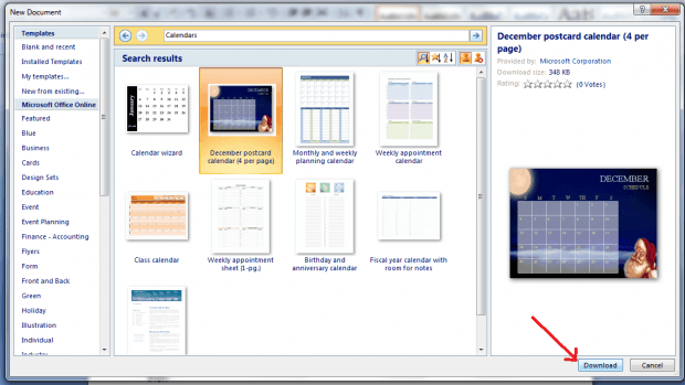 create custom calendar in MS Word 2007 c