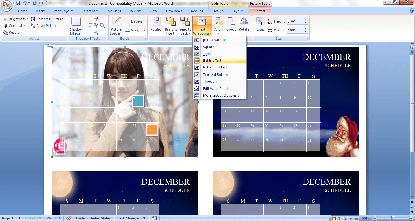 create custom calendar in ms word 2007 d