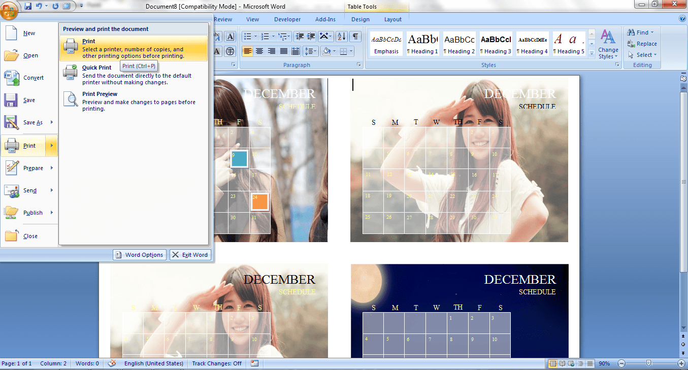 how to make calendars in word