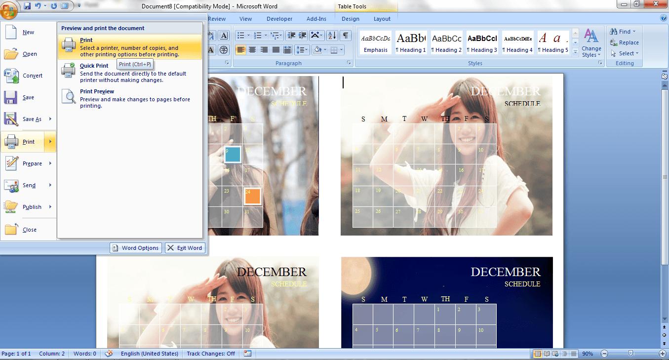 how to create a custom calendar in ms word 2007  guide