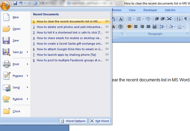 how to clear recent documents list in MS Word 2007