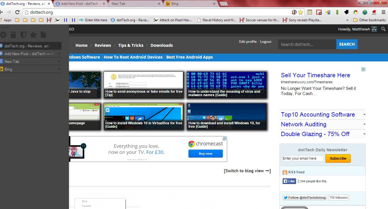 how to get bookmark tab on chrome