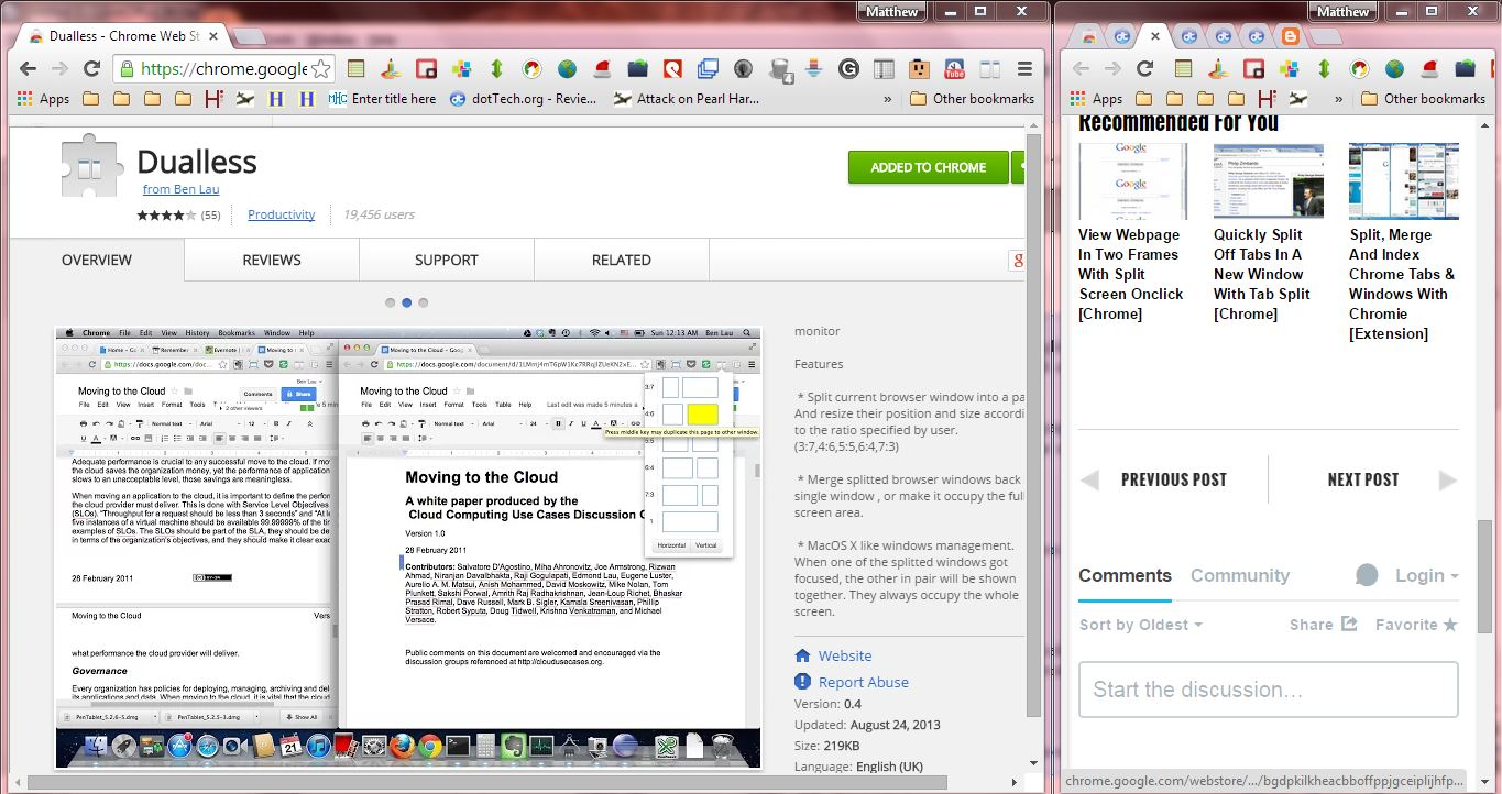 How to split current browser window into two in Chrome [Tip]   dotTech