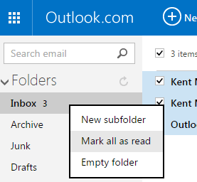 Mark all unread emails as read in Outlook c
