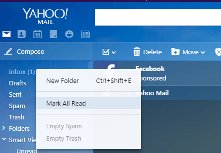 How does one see if an email has been read on Yahoo?
