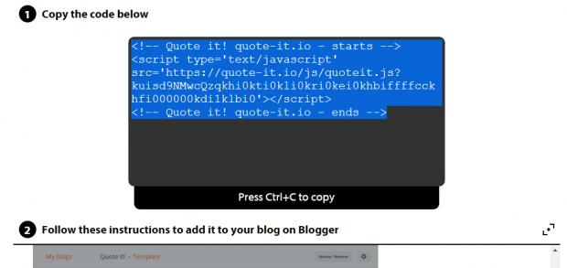 Quote It blogging widget d