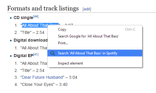 Search in Spotify