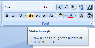 Strikethrough MS Word 2007