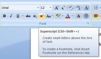 how to create superscript in word
