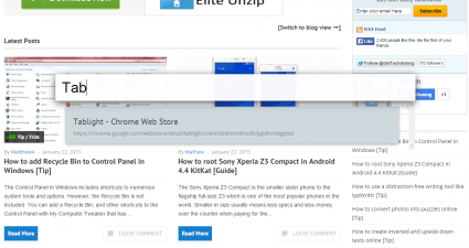 add a floating tab search bar in Chrome