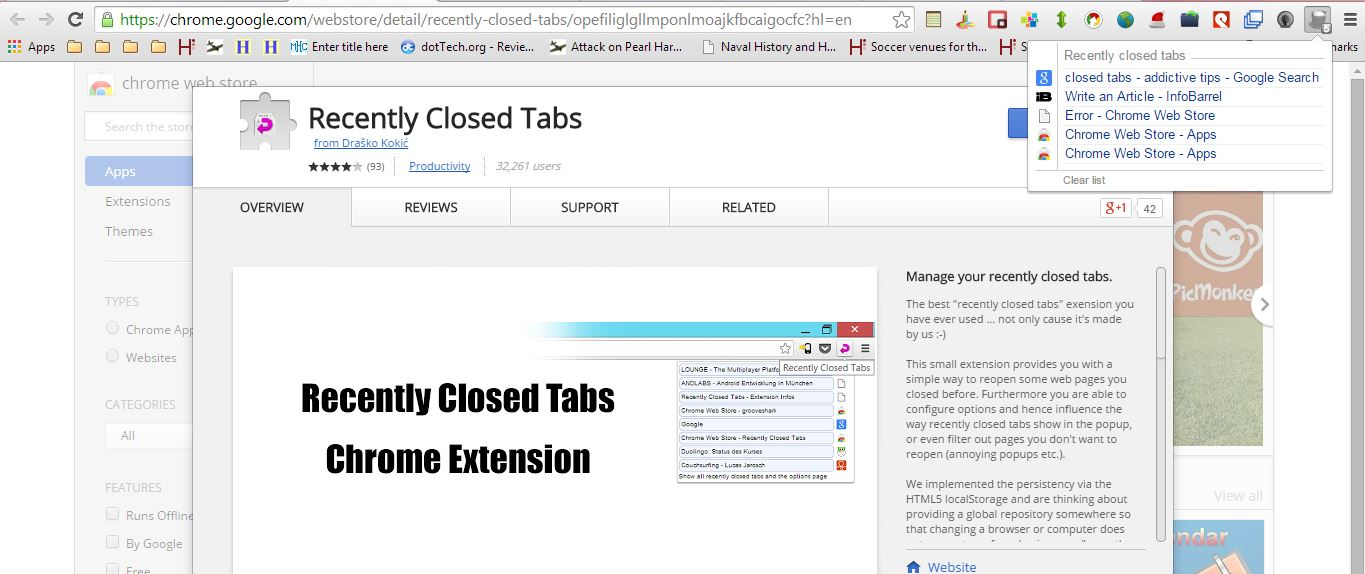 In Firefox all you need to do is click on the big orange Firefox button and  select History – > Recently Closed Tabs. You can now either restore  selected or ...