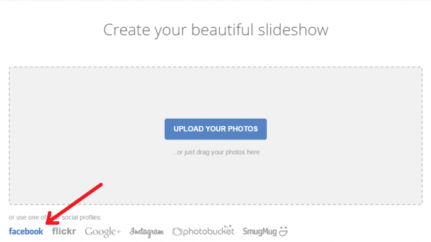 create slideshow from Facebook photos