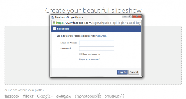 create slideshow from Facebook photos b