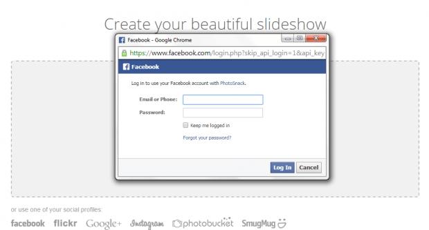 create slideshow from Facebook photos b