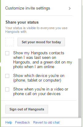 disable last seen reports on Hangouts Gmail