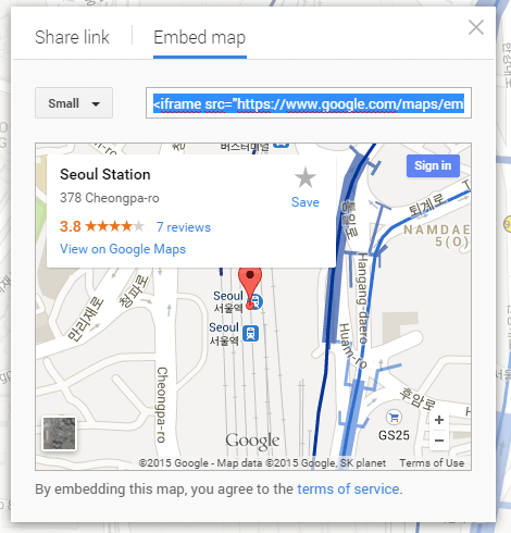 embed a Google Map in Blogger a