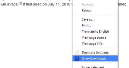 open Download tab via right-click context menu in Chrome