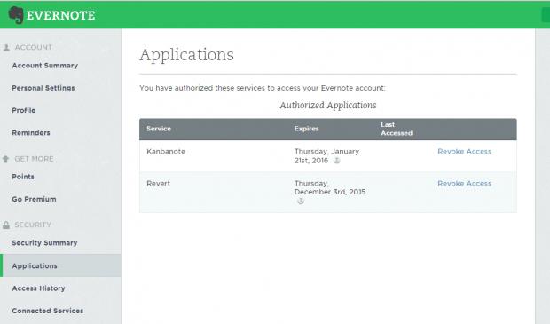 revoke app access Evernote b