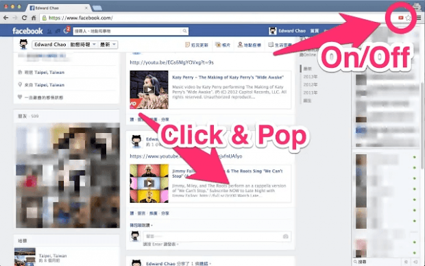 watch YouTube as popup in Facebook