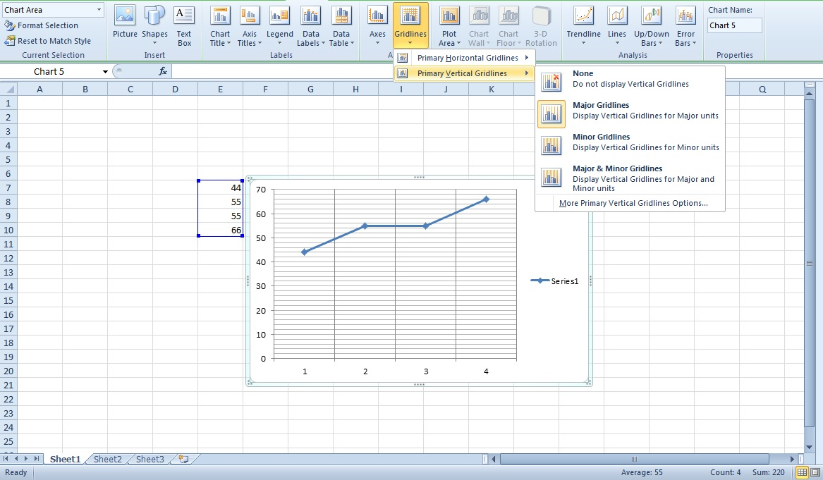 Drawing Lines Between Cells In Excel : How to add drop lines in excel show gridlines