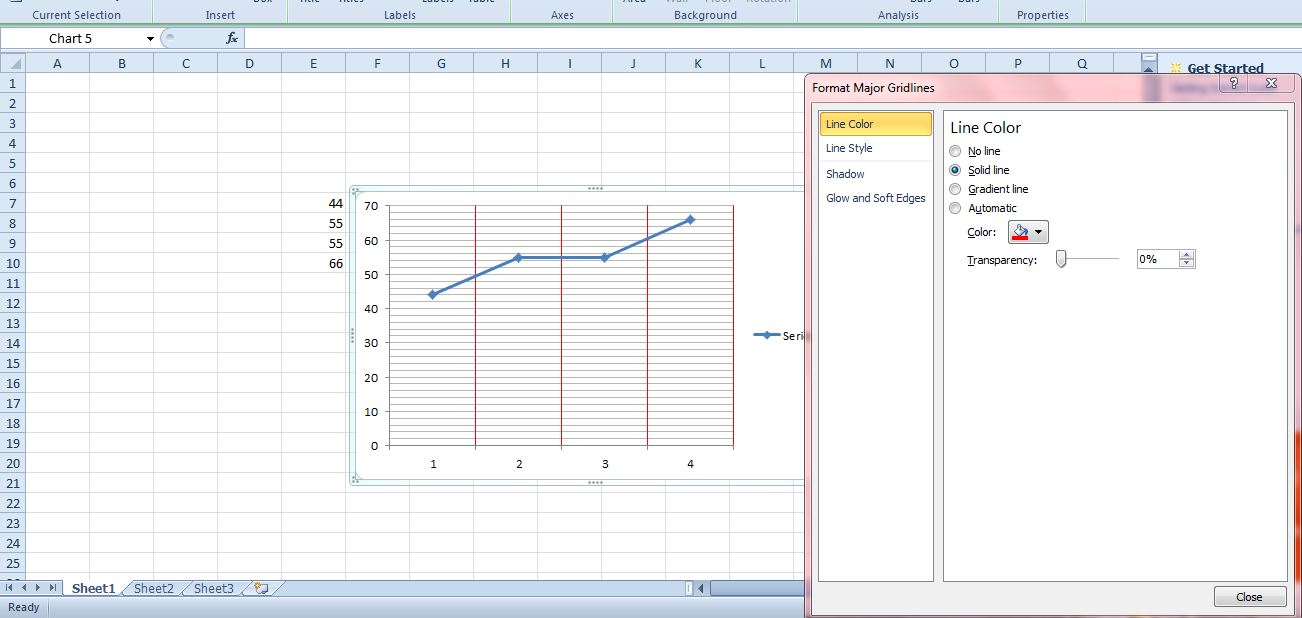 how to change add gridlines in excel graph