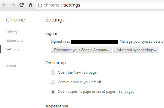 open multiple tabs on startup in Chrome b