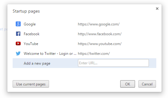 open multiple tabs on startup in Chrome c