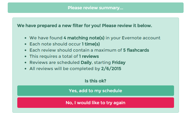 review and remember notes in Evernote c