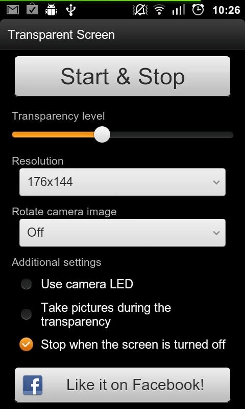 set transparent screen in Android