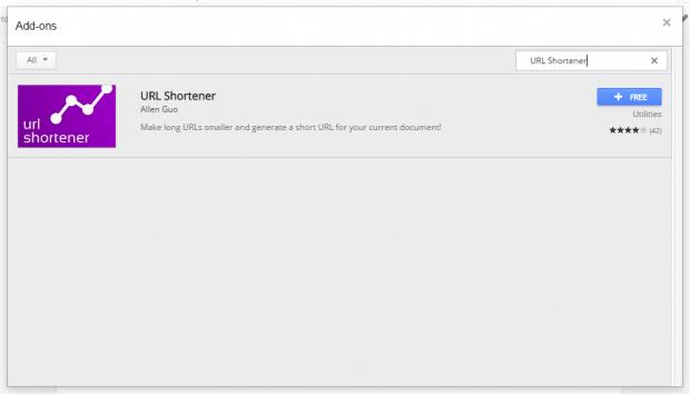 shorten URL links in Google Docs