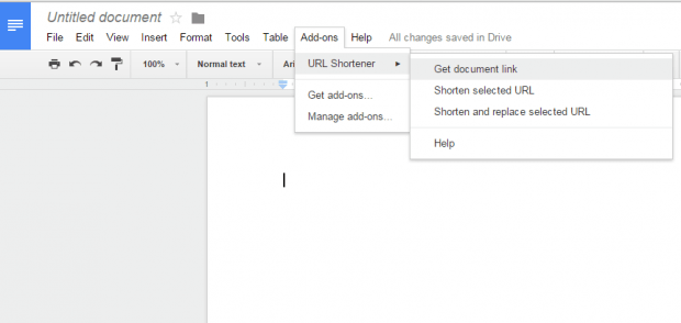 shorten URL links in Google Docs b
