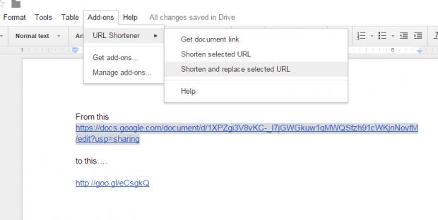 shorten URL links in Google Docs d