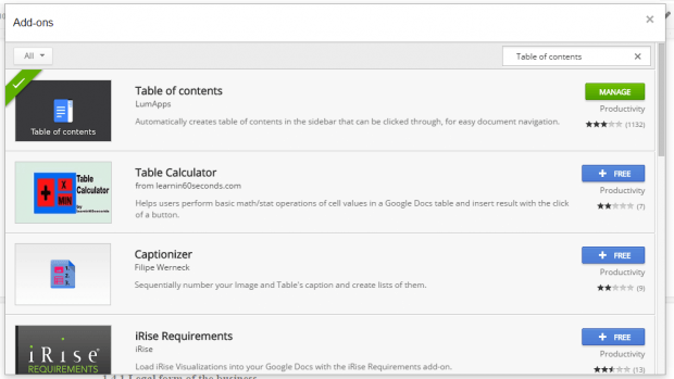 table of contents in Google Docs c