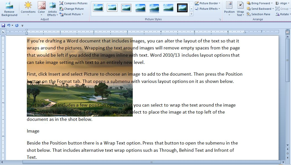 how to write text below image in word