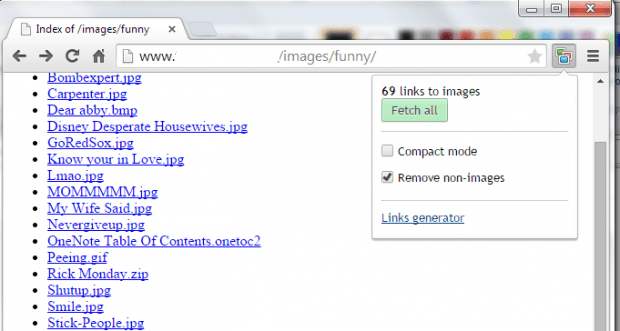 view all image links in a lightbox Chrome
