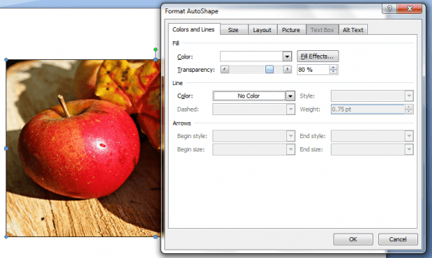 adjust image transparency in Word d