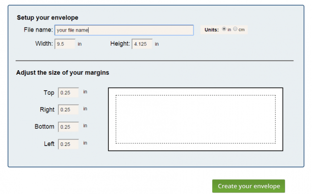 create envelope in Google Docs