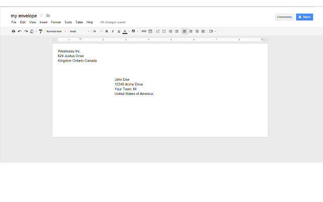Create Envelope In Google Docs B