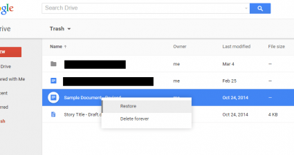 find and recover deleted files Google Drive