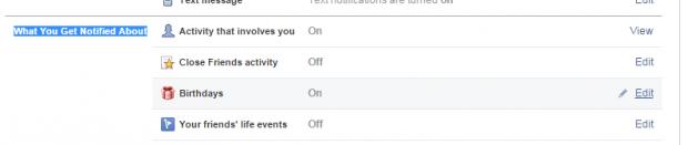 turn off birthday notifications Facebook
