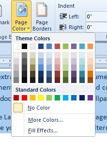 word background colors