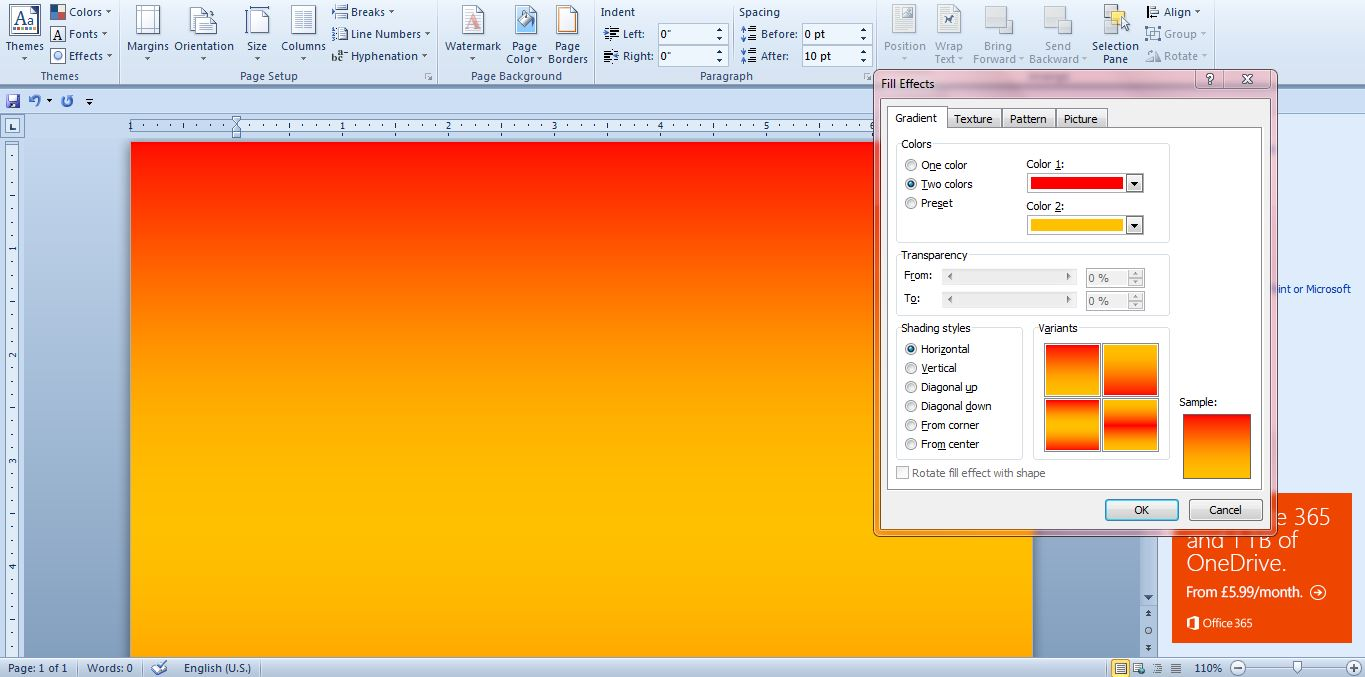 Backgrounds In Word