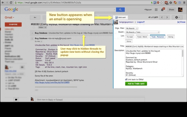 Create Trello Cards via Gmail Chrome