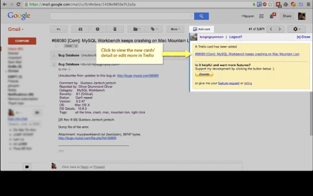 Create Trello Cards via Gmail Chrome b