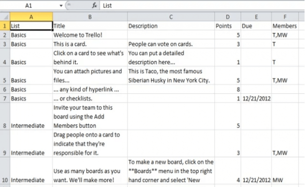 Export Trello board to Excel Chrome b